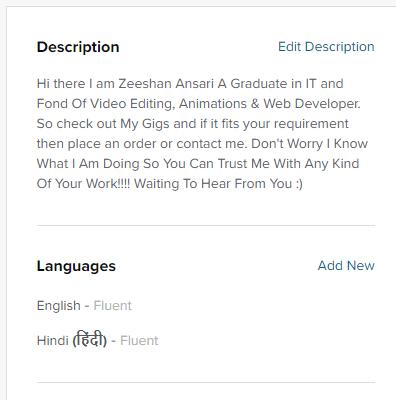 Profile Description on fiverr-studious31